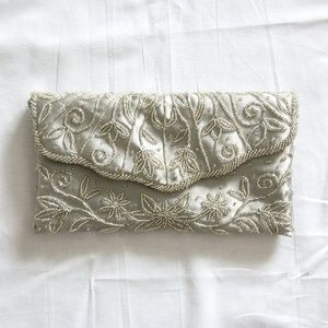 Silver Apt. 9 Beaded Evening Bag/Clutch